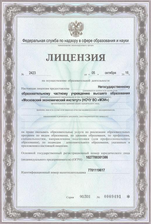 МЭИ лицензия
